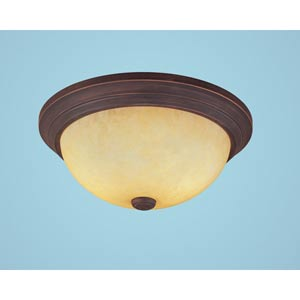 Rubbed Bronze Two-Light Flush Mount with Turinian Scavo Glass