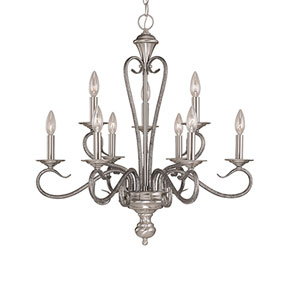 Devonshire Satin Nickel/Silvermist Nine-Light Chandelier