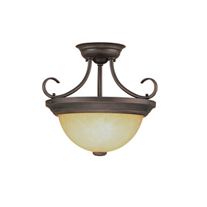 Rubbed Bronze Two-Light Semi-Flush with Turinian Scavo Glass