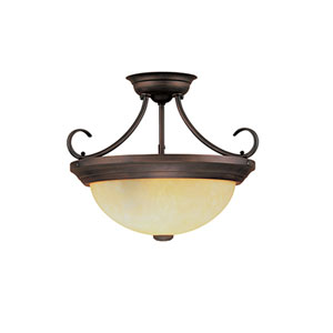 Rubbed Bronze Two-Light Semi-Flush with Turinian Scavo Glass