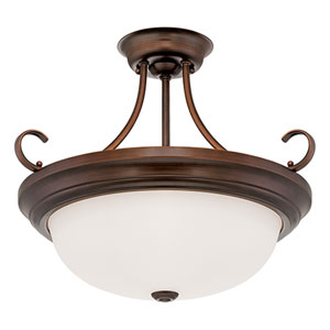Rubbed Bronze Three Light Semi-Flush Fixture with Etched White Glass
