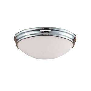 Chrome Three-Light Flush Mount with Etched White Glass