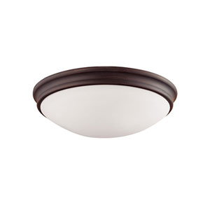 Rubbed Bronze Three-Light Flush Mount with Etched White Glass