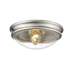 Brushed Nickel One-Light Flush Mount with Clear Seeded Glass