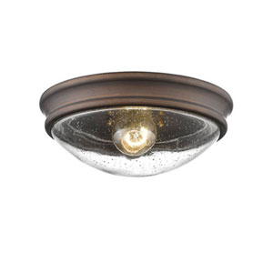 Rubbed Bronze One-Light Flush Mount with Clear Seeded Glass