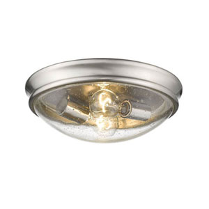 Brushed Nickel Two-Light Flush Mount with Clear Seeded Glass