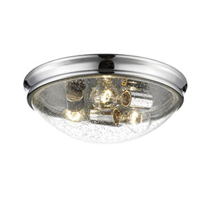 Chrome Three-Light Flush Mount with Clear Seeded Glass