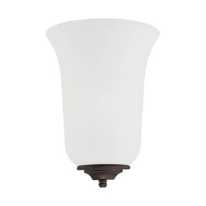 Rubbed Bronze and Rubbed Silver One-Light Wall Sconce with Etched White Glass, Set of 2