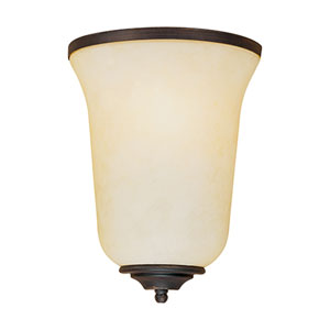 Rubbed Bronze One-Light Sconce with Turinian Scavo Glass