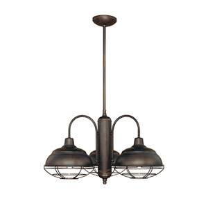 Neo-Industrial Rubbed Bronze Three-Light Chandelier