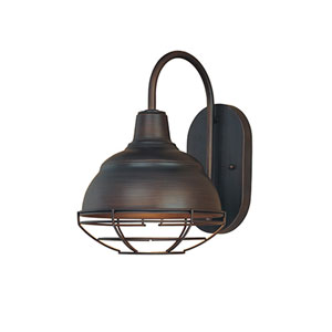 Neo-Industrial Rubbed Bronze One-Light Sconce
