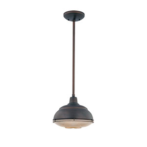 Neo-Industrial Rubbed Bronze One-Light Mini Pendant with Clear Crosscut Glass