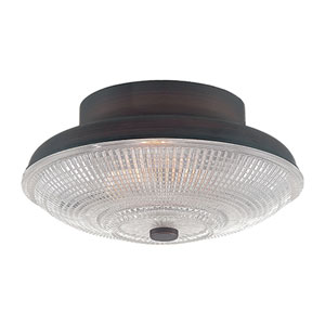 Rubbed Bronze 10-Inch One-Light Flush Mount with Clear Crosscut Glass