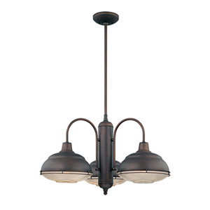 Neo-Industrial Rubbed Bronze Three-Light Chandelier with Clear Crosscut Glass