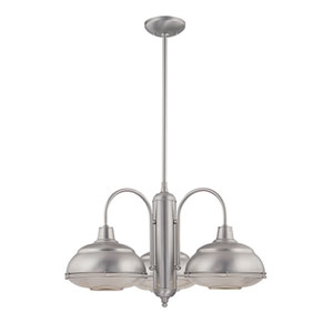 Neo-Industrial Satin Nickel Three-Light Chandelier with Clear Crosscut Glass