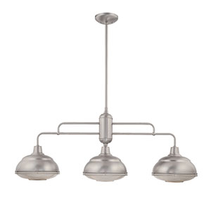 Neo-Industrial Satin Nickel Three-Light Island Pendant with Clear Crosscut Glass