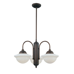 Neo-Industrial Rubbed Bronze Three-Light Chandelier with Opal White Schoolhouse Glass