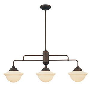 Neo-Industrial Rubbed Bronze Three-Light Island Pendant with Opal White Schoolhouse Glass