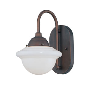 Neo-Industrial Rubbed Bronze One-Light Sconce with Opal White Schoolhouse Glass