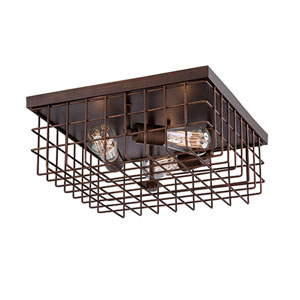 Neo-Industrial Rubbed Bronze 16-Inch Three-Light Flush Mount
