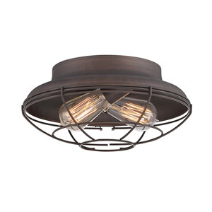 Neo-Industrial Rubbed Bronze 12-Inch Two-Light Flush Mount
