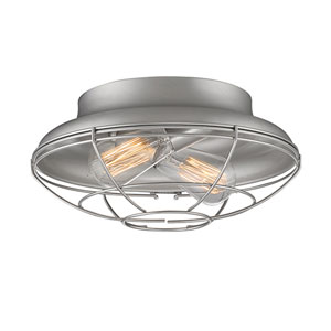 Neo-Industrial Satin Nickel 12-Inch Two-Light Flush Mount