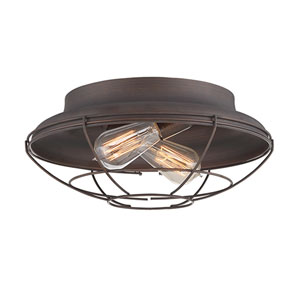 Neo-Industrial Rubbed Bronze 14-Inch Two-Light Flush Mount