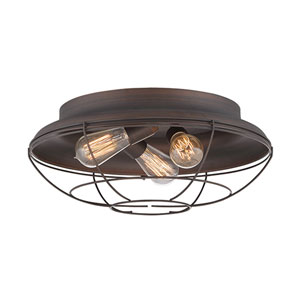 Neo-Industrial Rubbed Bronze Three-Light Flush Mount
