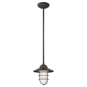 Neo-Industrial Rubbed Bronze One-Light Mini Pendant with Inside Etched Glass