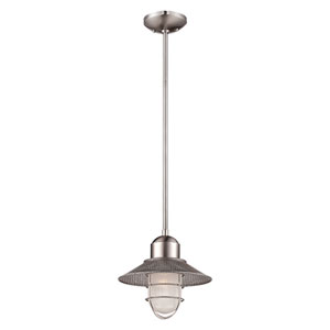 Neo-Industrial Brushed Nickel One Light Pendant with Sandblasted and Clear Glass