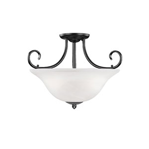 Main Street Black Three-Light Semi-Flush with Faux Alabaster Glass
