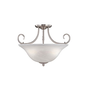 Main Street Satin Nickel Three-Light Semi-Flush with Faux Alabaster Glass