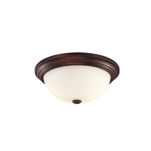 Rubbed Bronze Flushmount Ceiling Light w/ Etched White Glass Shade