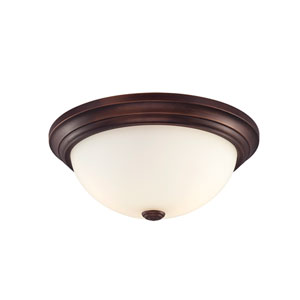 Rubbed Bronze Flushmount Ceiling Light w/Etched White Glass Shade