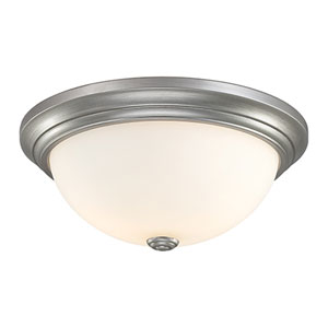 Rubbed Silver Flushmount Ceiling Light w/Etched White Glass Shade