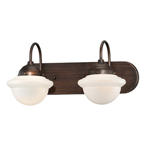 Neo-Industrial Rubbed Bronze Two Light Vanity Fixture with Opal White Schoolhouse Glass