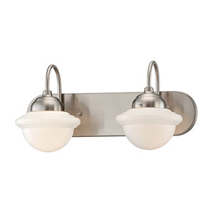Neo-Industrial Satin Nickel Two Light Vanity Fixture with Opal White Schoolhouse Glass