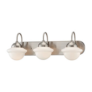 Neo-Industrial Satin Nickel Three Light Vanity Fixture with Opal White Schoolhouse Glass