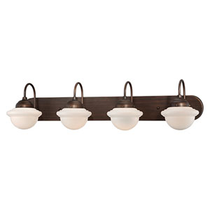 Neo-Industrial Rubbed Bronze Four Light Vanity Fixture with Opal White Schoolhouse Glass