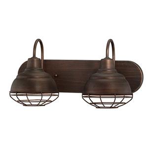 Neo-Industrial Rubbed Bronze 9 x 18-Inch Two Light Vanity Fixture
