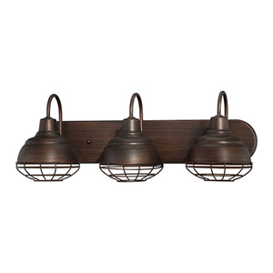 Neo-Industrial Rubbed Bronze Three Light Vanity Fixture