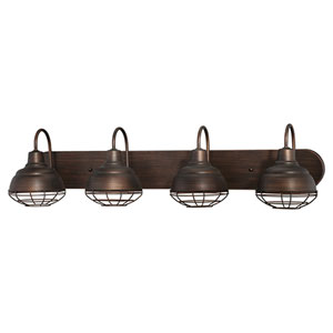 Neo-Industrial Rubbed Bronze 9 x 36.25-Inch Four Light Vanity Fixture