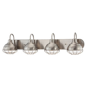 Neo-Industrial Satin Nickel 9 x 36.25-Inch Four Light Vanity Fixture
