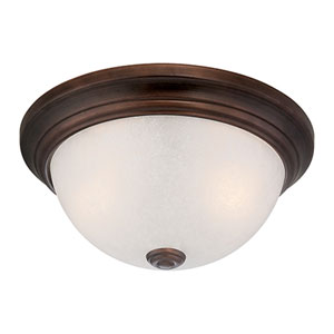 Rubbed Bronze Three Light Flush Mount Fixture with Light India Scavo Glass