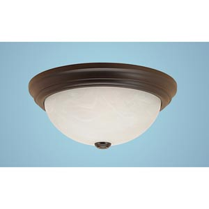 Fine Tex Black Two-Light Flush Mount with Faux Alabaster Glass