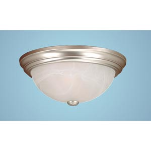 Satin Nickel Two-Light Flush Mount with Faux Alabaster Glass