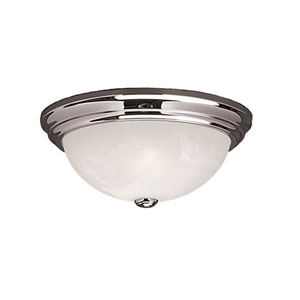 Chrome Two-Light Flush Mount with Faux Alabaster Glass