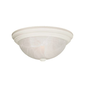 Textured White Flushmount Ceiling Light w/Faux Alabaster Glass Shade