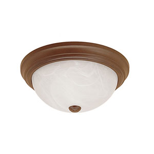 Bronze Three-Light Flush Mount with Faux Alabaster Glass