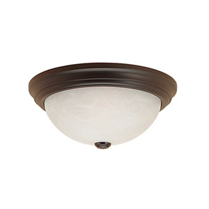 Fine Tex Black Three-Light Flush Mount with Faux Alabaster Glass